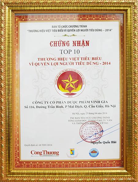 top 10 thuong hieu tieu bieu vi quyen loi nguoi tieu dung 2014